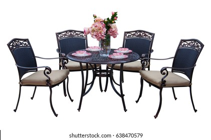 Iron garden furniture table and chairs isolated