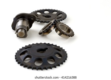 Iron gears on a white background. Spare parts.