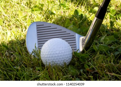 Iron golf club and golf ball in the rough golf course grass