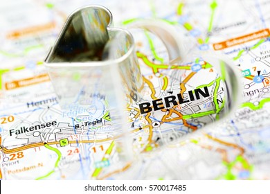 iron heart on route map Berlin, Germany.