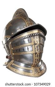 Iron helmet of the medieval knight. Very heavy headdress.