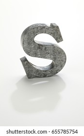 iron letter S isolated on white