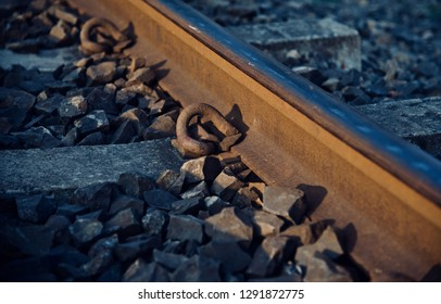 An iron made parts of a railway tracks isolated object photo
