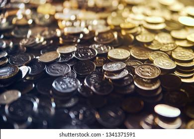 "iron money background  Translation: ""5 rubles  10 rubles  2 rubles 10 kopecks"""