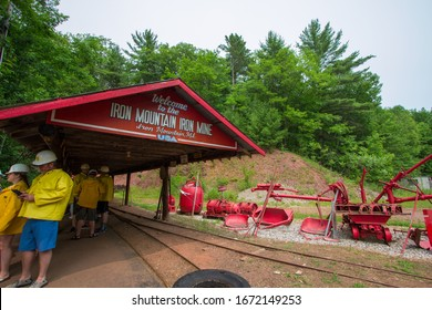 Iron Mountain, Michigan, USA - July 7, 2019: Entrance to the Iron Mountain Iron Mine which now operates as a tourist attraction. and offers underground tours of the mine.