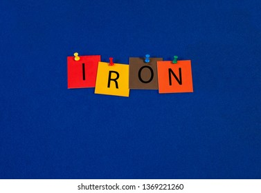 Iron – one of a complete periodic table series of element names - educational sign or design for teaching chemistry.