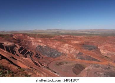 Iron ore mine pit Pilbara region Western Australia