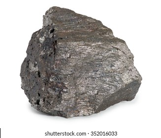 Iron ore mineral isolated on white background. Iron ores are rocks and minerals from which metallic iron can be economically extracted. The ores are usually rich in iron oxides and vary in color.