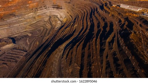 Iron ore quarry open pit mining type iron ore mining large truck operations quadrocopter survey.