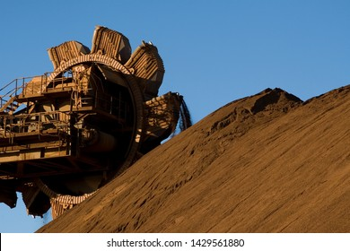 Iron ore stackers and reclaimers in Port Hedland