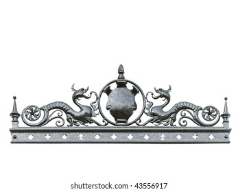 Iron ornament with two dragons and a blank shield suited to add your text. Clipping path included. Location: province of Buenos Aires, Argentina