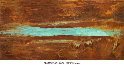 Iron oxide rust texture abstract painting with copper patina  by Paul Seftel