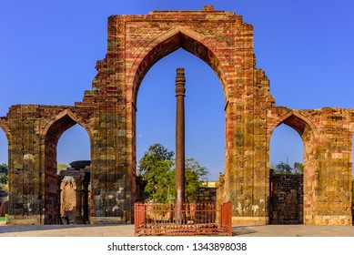 Iron pillar also known as Ashoka Pillar is 7.2m high was constructed by King Chandra. It is famous for rust-resistant composition of the metals used in its construction at Qutb complex at Delhi, India