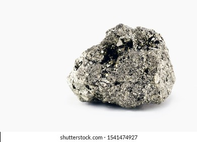 Iron pyrite nugget or iron expert, silver metal in the raw state. Brazilian nugget. Concept of mineral extraction or geology of Brazil.