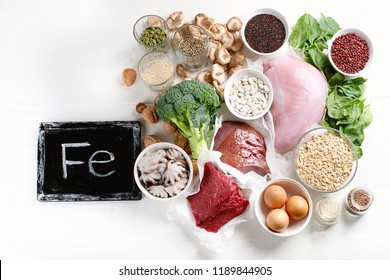 Iron rich foods. Healthy eating concept.