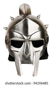 Iron Roman legionary helmet on white background