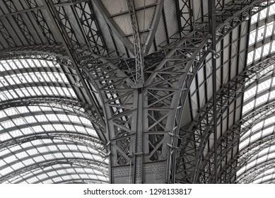 iron roof construction of main station in, frankfurt am main, germany