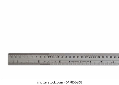 Iron Ruler on White Isolated. Copy Space for Text or Image, Idea Concept for Show length of Item, Unit is Centimeters.