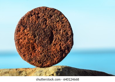 Iron rust of old detail on the seashore
