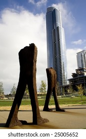 Iron sculptures in Grand Park, Chicago and a skyscraper.