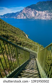 iron staircase along the trail from Busatte to Tempesta near Torbole on Garda lake, Italy