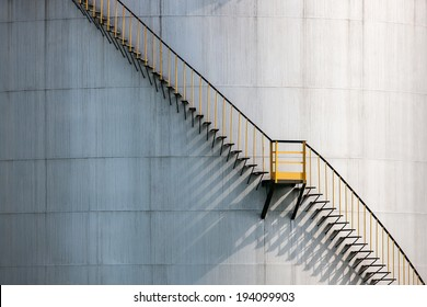 Iron stairs on Sisak oil refinery, the largest oil refinery in Croatia.