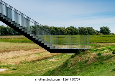 iron stairs of watching tower in national park Biesbosch, The Netherlands