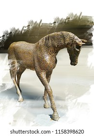 The iron statue of a horse is exhibited in Prague. Oil painting effect.
