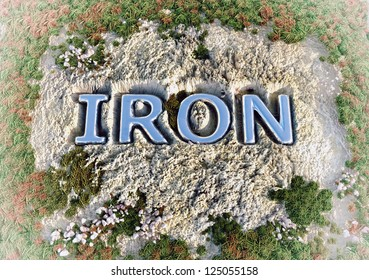Iron text in the rock ground (3D concept)