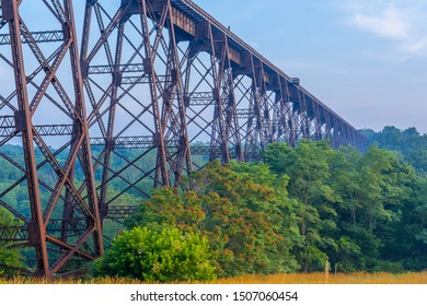 Iron Train Trestle Over The River Valley