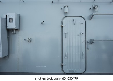 iron walls and door on the battle ship