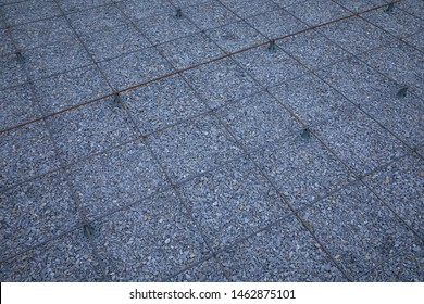 Iron wire mesh for concreting floors. Accessories for concreting. Rebar grids at the construction site. Accessories for concreting