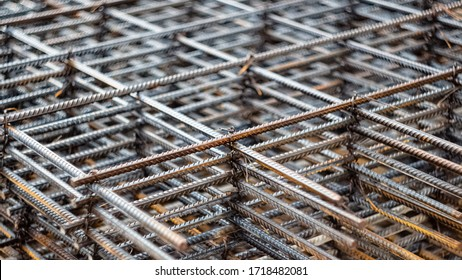 Iron wire for use base structure in road construction.Steel rods or bars used to reinforce concrete