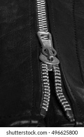 Iron zipper on black leather. Texture close-up