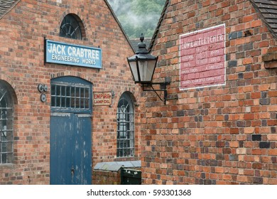 IRONBRIDGE, UK - CIRCA 2013: Exterior of red brick workshops at Blists Hill Victorian Museum, Ironbridge, Shropshire, UK