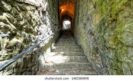 Ironbridge,Shropshire/England - 11 April 2017:The steps going up to St Lukes Church on Church Hill in Ironbridge .