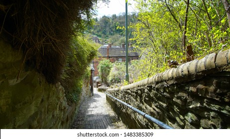 Ironbridge,Shropshire/England - 11 April 2017:The steps coming down  from beside the St Lukes Church on Church Hill in Ironbridge leading to the Square.