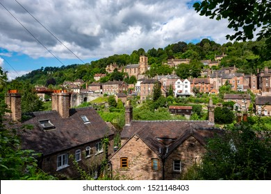 Ironbridge,Shropshire/England - 13 Aug 2019:A view of the town of Ironbridge in Shropshire England.