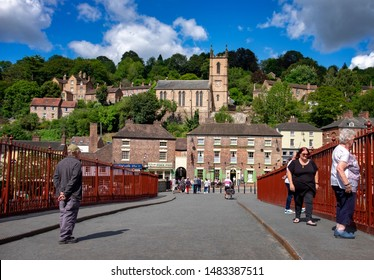Ironbridge,Shropshire/England - 13 Aug 2019:The view from the Ironbridge looking up at St Lukes Church on Church Hill.