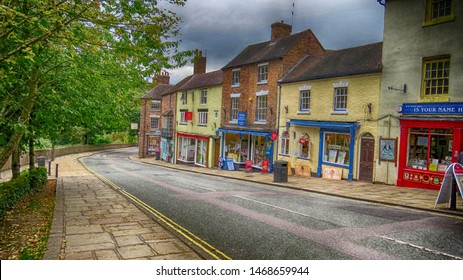 Ironbridge,Shropshire/England - 23 Sept 2015 :The shops on Tontine Hill in Ironbridge.