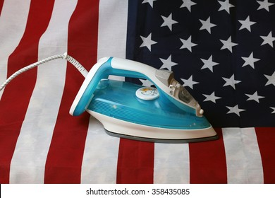 ironed Crumpled US flag