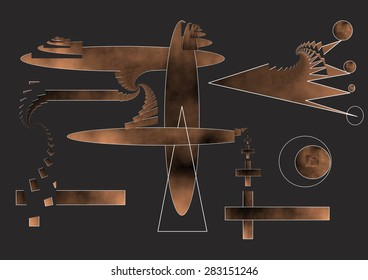 The ironing board, female allegation against the customs of men in household chores, Abstract digital art,spiral fractal burnt copper gradient,degraded,dark gray infinity background,science, Bosco,