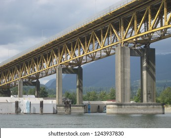 Ironworkers Memorial Second Narrows Crossing (Ironworkers Memorial Bridge, Highway 1) over Burrard Inlet at the Second Narrows in Vancouver British Columbia