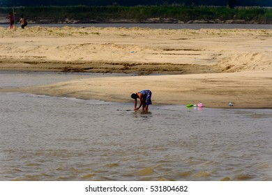 IRRAWADDY RIVER, MYANMAR - AUG 26, 2016: Irrawaddy River, Myanmar. It's largest rive and most important commercial waterway