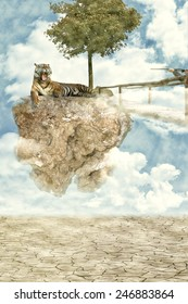 irreal image: Tiger lying on a floating rock, aggressive expression because a hunter with a gun pointed
