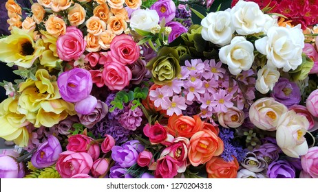 irregularly placed flowers in various colors