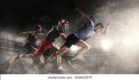 Irresistible in attack. Multi sports collage with running, basketball, American football players. Conceptual photo with fit running athletes in motion or movement at stadium. Super Bowl concept