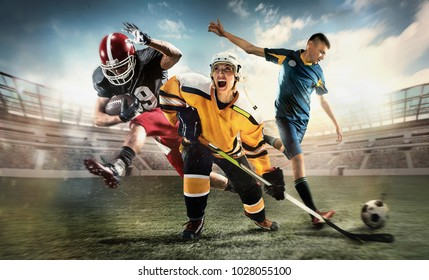 Irresistible in attack. Rage.Multi sports collage with hockey, soccer, American football players. Conceptual photo with emotional screaming running athletes - men, woman in motion at stadium. Winners