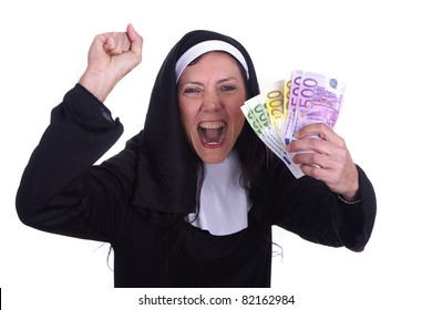 Irreverent nun with a funny expression and euro currency on her hands.