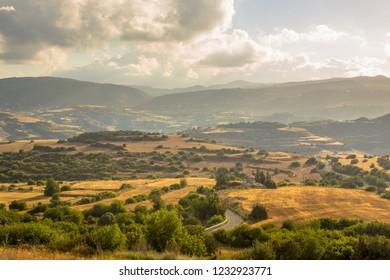 Irrigated Agricultural landscape near Evretou Dam, Paphos region Cyprus